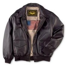 男士真ra皮衣二战经sa飞行夹克翻领加肥加大夹棉外套