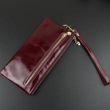 伊米女ra时尚信封包sa超薄长式迷你真皮手机包油蜡皮(小)手包