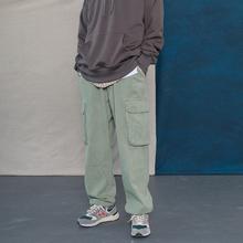 蒙马特ra生 日系街mo裤工装裤男 直筒宽松百搭大口袋束脚长裤