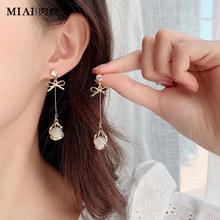 气质纯ra猫眼石耳环mo0年新式潮韩国耳饰长式无耳洞耳坠耳钉