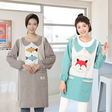 韩式反ra罩衣大的上mo女冬长袖防水女时尚外穿厨房工作服