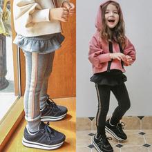 女童加ra加厚打底裤mo0新式秋冬装中(小)童纯棉裙裤一体绒外穿裤子