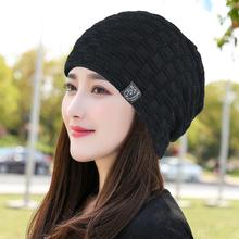 秋冬帽ra女加绒针织mo滑雪加厚毛线帽百搭保暖套头帽
