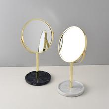 (小)西家ra北欧风insi大理石梳妆镜 台式桌面化妆镜金属双面镜子