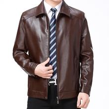 秋冬装ra式真皮皮衣si翻领皮夹克男士外套加绒加厚大码皮外套