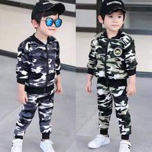 3男童迷彩服套装春秋儿ra82两件套nb装加绒拉链童装中(小)童45