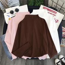 半高领ra底(小)衫女士nd袖2021新式韩款学生上衣服百搭港风t恤