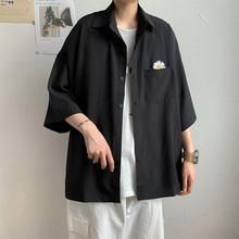 春季(小)ra菊短袖衬衫ng搭宽松七分袖衬衣ins休闲男士工装外套