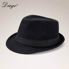 春秋冬ra英伦礼帽男ue羊毛呢子帽子绅士爵士帽黑色复古新郎帽