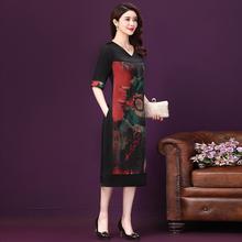 杭州真ra连衣裙中长rl季新式修身气质中年妈妈高档桑蚕丝裙子