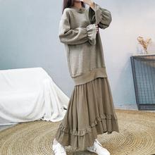 (小)香风ra纺拼接假两rl连衣裙女秋冬加绒加厚宽松荷叶边卫衣裙