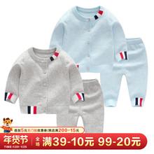 婴儿冬装纯棉毛衣套装男女ra9宝秋冬加rl年装针织衫过年衣服