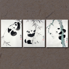 手绘国ra熊猫竹子水rl条幅斗方家居装饰风景画行川艺术