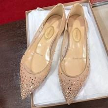 春季满ra星网纱仙女rl尖头平底水钻单鞋内增高低跟裸色婚鞋女