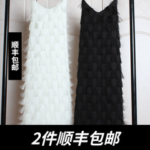 春季2ra20新式女ch雪纺V领大码蕾丝性感流苏羽毛吊带连衣裙