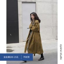 欧阳喜rb长式风衣女vd新式韩款宽松过膝大衣开衫翻领气质外套