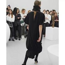 13宜rd清仓特价!d8摆~纸片的气质(小)众式垂坠高档黑色连衣裙