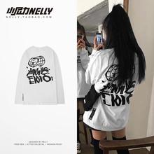 (小)尼力 韩国潮牌黑rd6/白色 gs长袖T恤男女款TEE 打底衫bf风