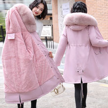 J派克re棉衣冬季羽ln中长式韩款学生大毛领棉袄外套可拆毛领