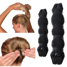 韩国发re丸子头造型di松盘发棒花苞头懒的神器头饰发卡