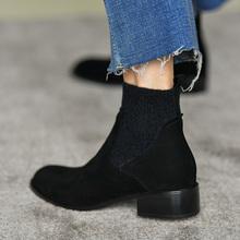 皮厚先re 黑色圆头di短靴女 磨砂羊皮及踝靴粗跟裸靴秋季女靴