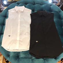 夏季新款纯棉蜜蜂刺绣re7色简约休fl女同款修身无袖衬衫