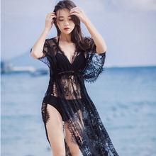 202re韩款性感黑fl套泳衣女BIKINI宽松长袖防晒衣罩衫