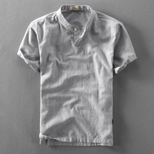 夏季立re亚麻短袖衬oc套头薄式透气休闲宽松棉麻衬衣半袖上衣