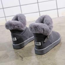 棉鞋女re雪地靴女式th筒靴休闲保暖鞋子女学生平底防滑女靴子