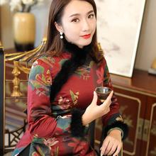 唐装女re装 加厚短en国风中式复古(小)棉袄拜年加棉旗袍上衣