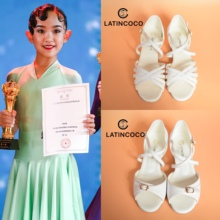 可可时re舞鞋少宝宝en平跟女童软皮(小)白鞋精英组牛仔恰恰