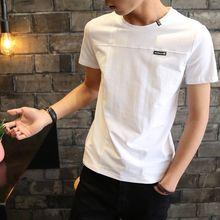 夏季男reins短袖en士潮牌潮流半袖修身�B体恤衣服男生打底衫
