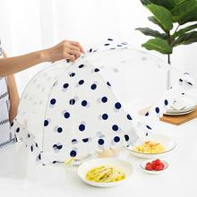 家用大re饭桌盖菜罩en网纱可折叠防尘防蚊饭菜餐桌子食物罩子