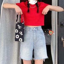 王少女re店牛仔短裤co1年春夏季新式薄式黑白色高腰显瘦休闲裤子