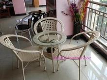 藤椅 re桌椅 成套at具 休闲藤艺家具白色藤椅