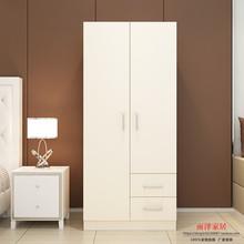 简易组re衣柜简约现at型2门衣橱衣柜实木质板式橱柜抽屉柜