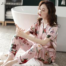 睡衣女re夏季冰丝短at服女夏天薄式仿真丝绸丝质绸缎韩款套装