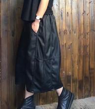 皮裙女re秋欧美显瘦atu灯笼裙宽松半身裙大码中长式花苞裙长裙