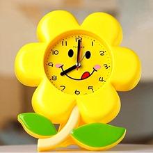 简约时re电子花朵个ng床头卧室可爱宝宝卡通创意学生闹钟包邮