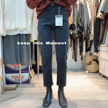 momrent烟灰色ew哈伦裤九分高腰直筒黑色显瘦萝卜裤宽松女裤子