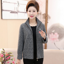 中年妇re春秋装夹克ew-50岁妈妈装短式上衣中老年女装立领外套