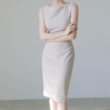 无袖职reol气质轻ub衣裙女夏2021新式一字肩显瘦通勤西装裙子