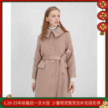羊绒大re冬加厚气质ub瘦原创设计复古赫本风大翻领长式外套女