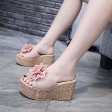 超高跟re底拖鞋女外pe20夏时尚网红松糕一字拖百搭女士坡跟拖鞋