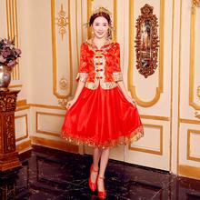 新娘礼re2021新ar服短式春夏中式结婚礼服女显瘦孕妇结婚旗袍