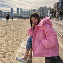 韩国东re门20AWar韩款宽松可爱粉色面包服连帽拉链夹棉外套