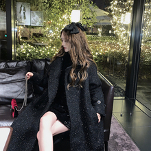 U.Vre(小)香风黑色ir河毛呢大衣女秋冬中长式赫本风过膝呢子外套