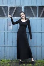 欧美风秋装女莫代尔连rf7裙黑色显jy领长袖拖地长裙大码(小)码