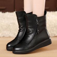冬季平rf短靴女真皮zp鞋棉靴马丁靴女英伦风真皮靴子圆头