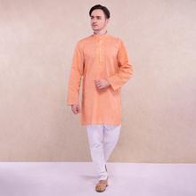 印度进rf传统男装套zp风纯棉透气服饰浅橘中长式薄式宽松长袖